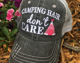 1beb5b9cc Hat { Camping hair don't care } { Im a Happy Camper } Glamping hair dont  care. 10 different colors.