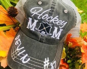 6fc3afbcdc5 Hats   Hockey mom   Gray w  black