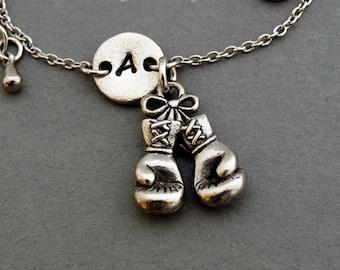 Boxing gloves charm bracelet, antique silver, initial bracelet, friendship, mothers, adjustable, monogram