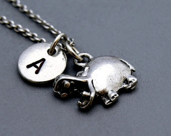 Hippopotamus charm, hippo necklace, initial necklace, initial hand stamped, personalized, antique silver, monogram