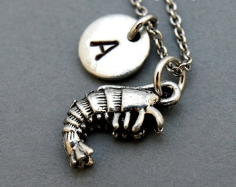 Shrimp charm Necklace, shrimp necklace, initial necklace, initial hand stamped, personalized, antique silver, monogram