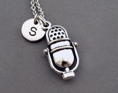 Microphone necklace, Mic necklace, Mike, retro microphone, vintage mic, music, initial necklace, personalized, antique silver, monogram