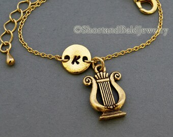 Gold Lyre Charm Necklace Lyre Necklace Greek Lyre Jewelry Sorority Necklace Ancient Harp Necklace Sorority Gift Musical Lyre Charm