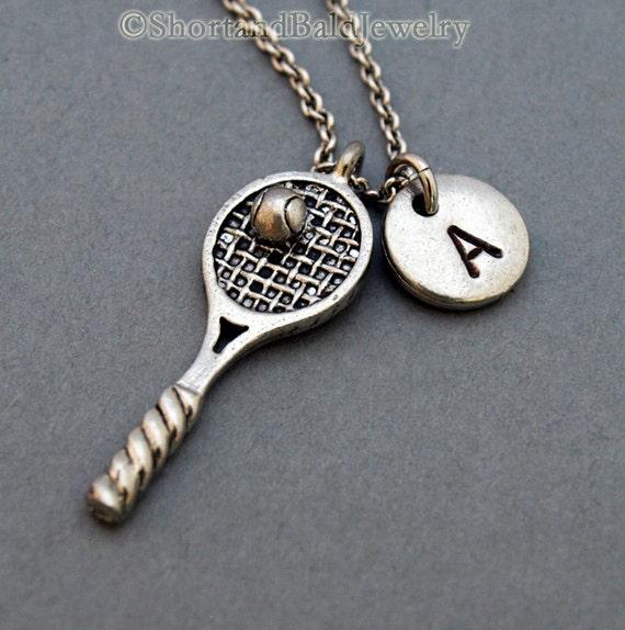 Tennis necklace tennis racket necklace tennis racquet etsy image 0 aloadofball Choice Image