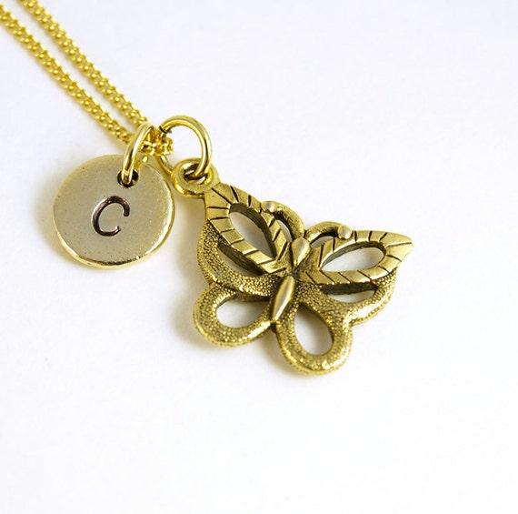 Schmetterling Halskette, Schmetterling Charme, gold Schmetterling, Antike Gold, erste Halskette, von Hand gestempelt ersten Charme, personalisiert,