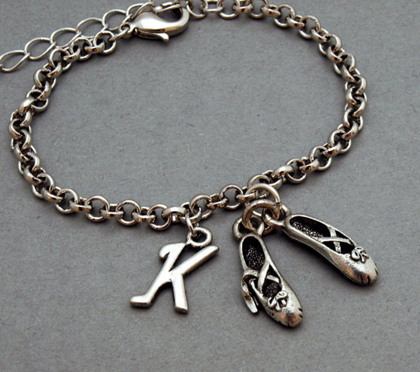 ballet shoes charm bracelet, ballet slippers, antique silver, initial bracelet, friendship, mothers, adjustable, monogram