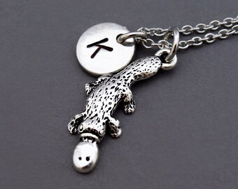 Platypus necklace, platypus charm, platypus jewelry, duck-billed platypus, initial hand stamped, personalized, antique silver, monogram