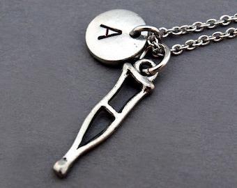 Crutch necklace, Crutch charm necklace, Cane, Underarm crutch, initial necklace, personalized, antique silver, monogram