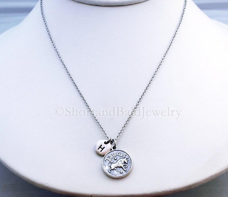 personalized Taurus necklace antique silver monogram initial necklace Taurus Zodiac charm Necklace Silver Taurus charm