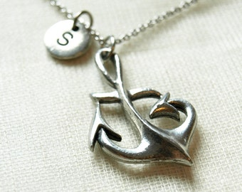 Anchor necklace, Nautical necklace, initial necklace, initial hand stamped, personalized, antique silver, monogram