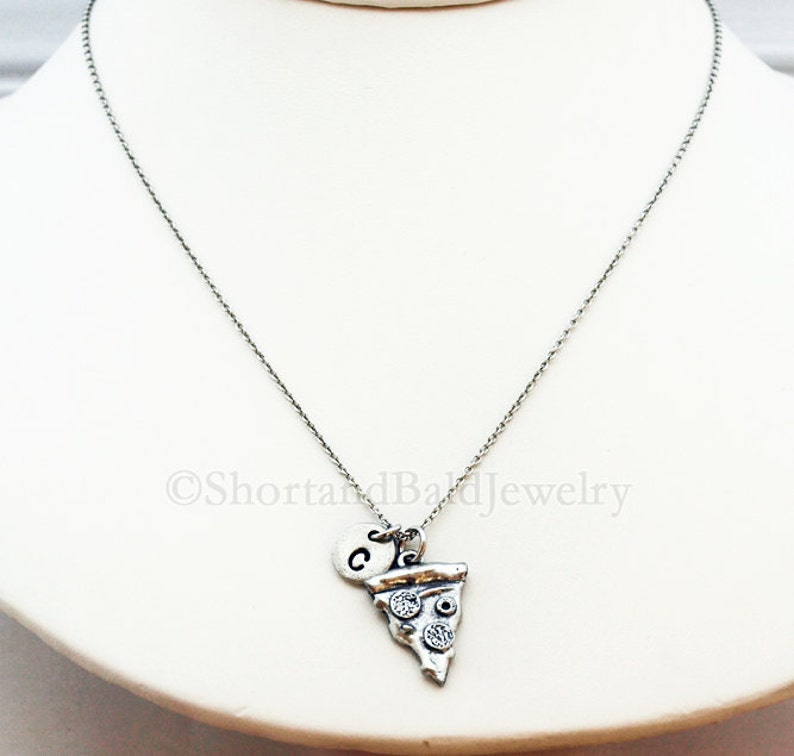 initial hand stamped Pizza necklace Pizza slice antique silver food charm personalized monogram pepperoni pizza initial necklace