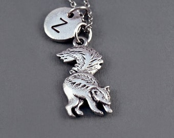 Skunk Necklace, polecats, Silver skunk charm necklace, silver skunk jewelry, initial necklace, initial hand stamped, personalized, monogram