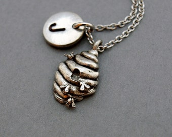 Beehive charm necklace, Honey bee, bumblee bee, antique silver, initial necklace, initial hand stamped, personalized, monogram