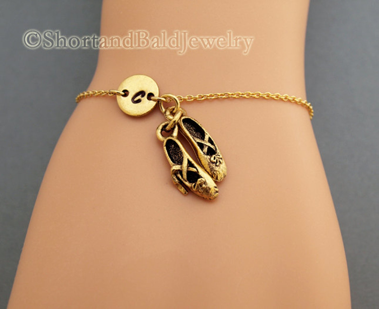 ballet shoes charm bracelet, ballet slippers, antique gold, initial bracelet, friendship, mothers, adjustable, monogram