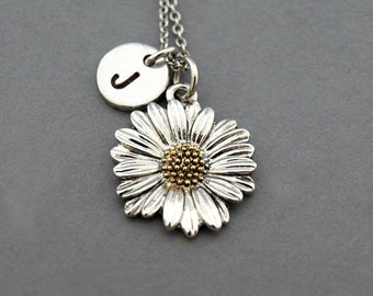 Daisy necklace, flower charm necklace, Daisy flower, antique silver, initial necklace, initial hand stamped, personalized, monogram