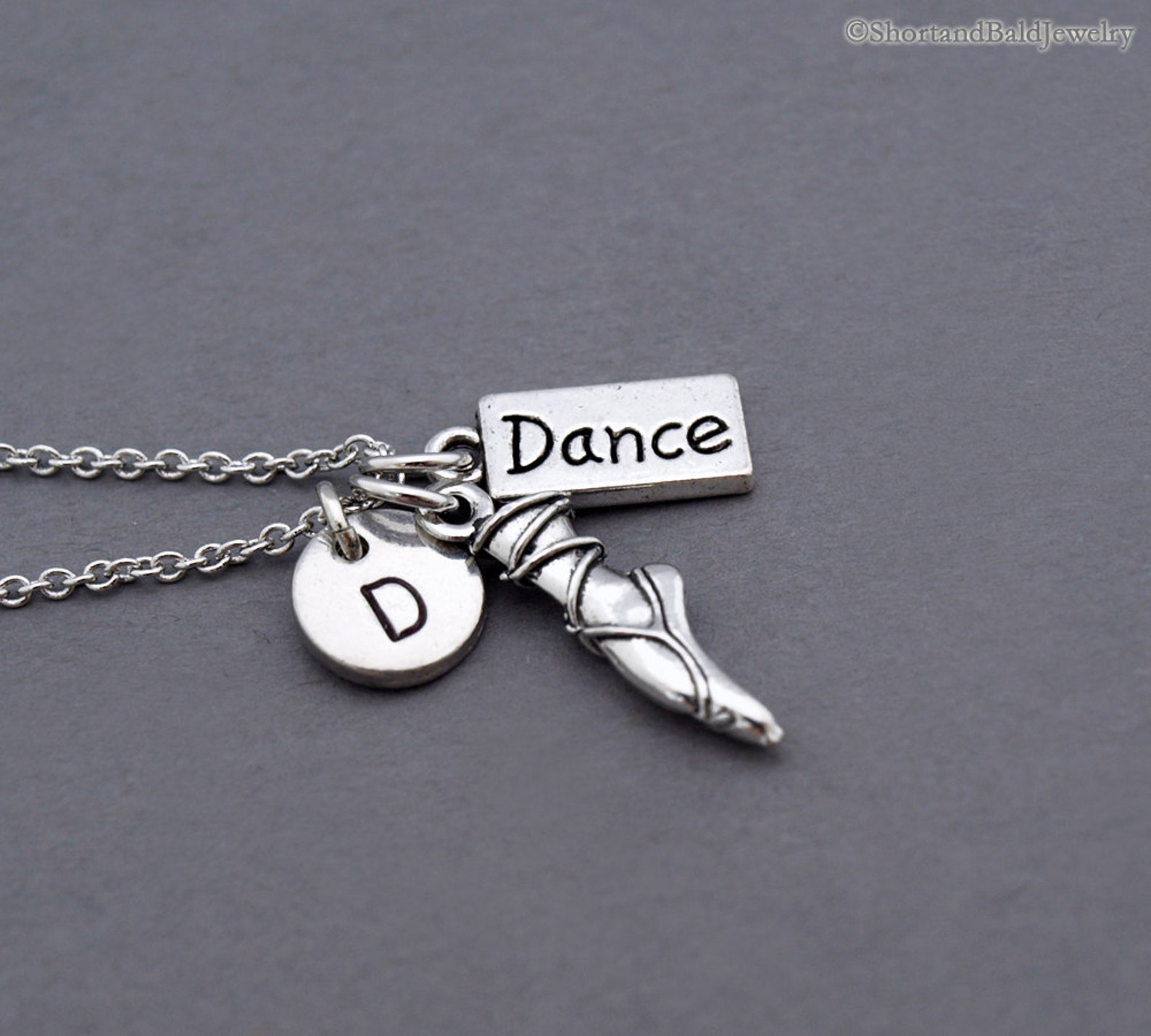 pointe charm necklace, ballet charm necklace, ballet shoe, ballet toe, ballet pointe, ballerina, dance charm, dancer, initial ne
