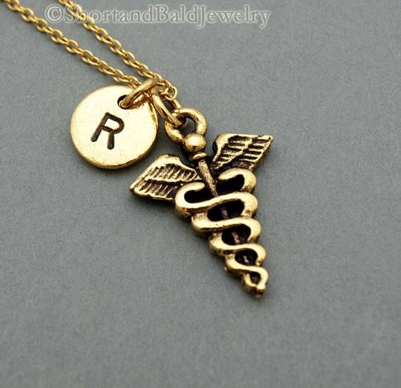 Symbol Of Medicine Necklace Medical Symbol Caduceus Antique Etsy
