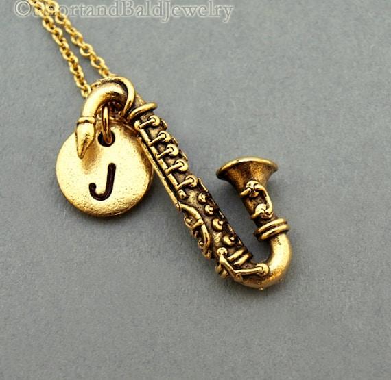Saxophone necklace Saxophone charm instrument necklace  83a79ee87e5b