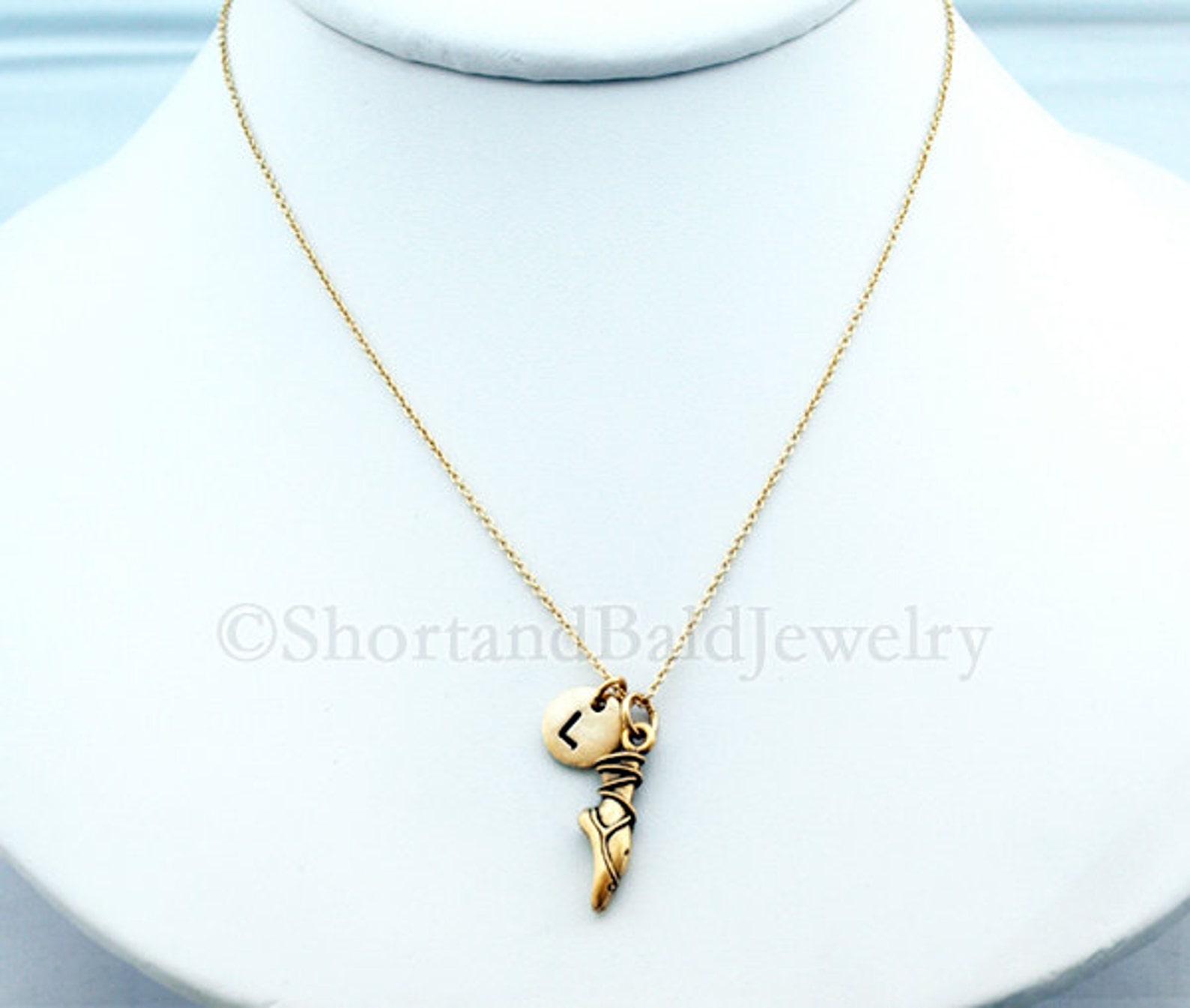 pointe charm necklace, ballet shoe, ballet toe, ballet pointe, initial necklace, personalized, antique gold, monogram
