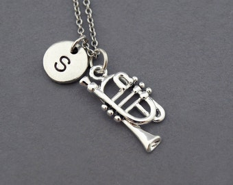 Trumpet Charm necklace, brass instrument, musician, initial necklace, initial hand stamped, personalized, antique silver, monogram