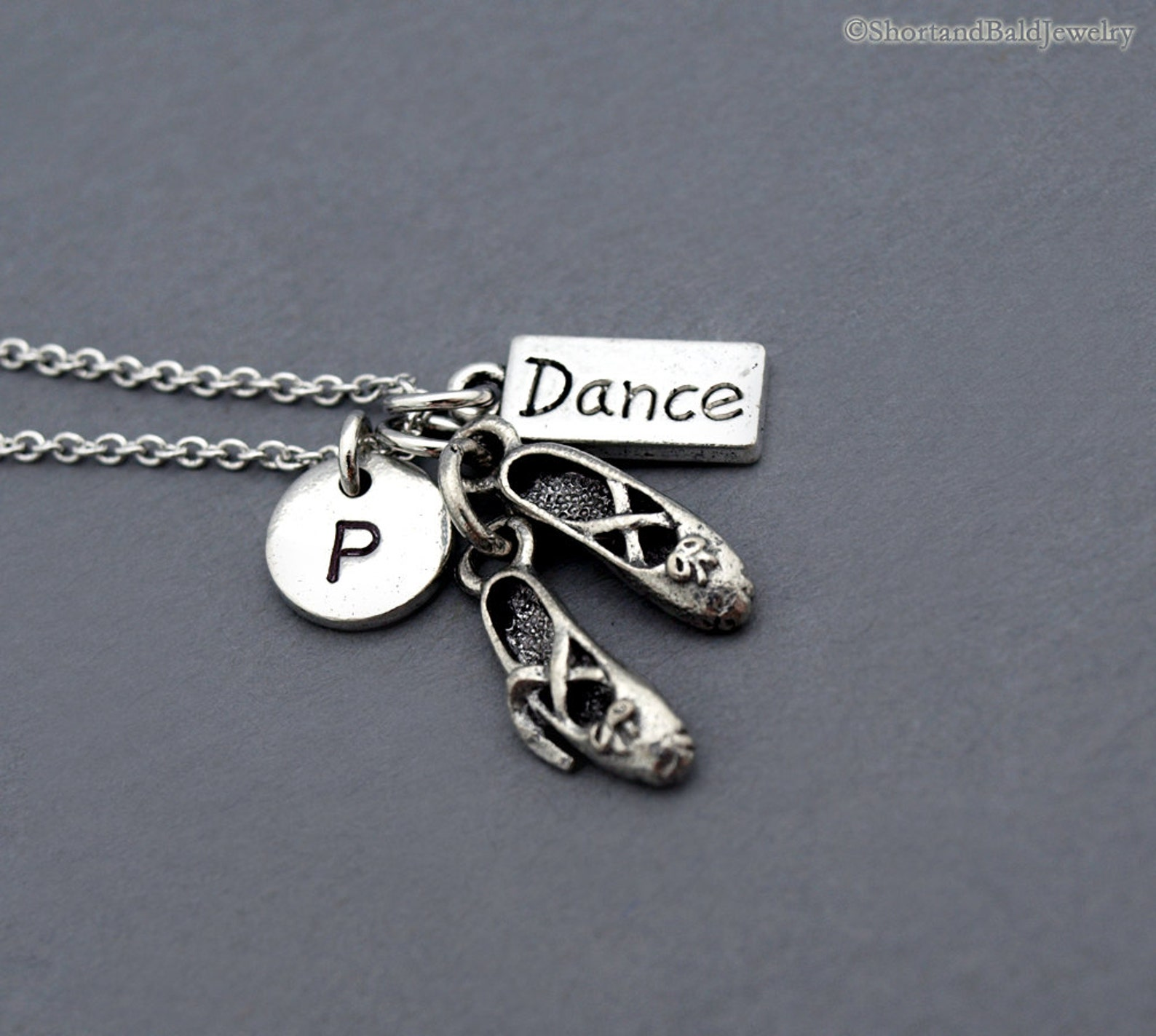 ballet shoes charm necklace, ballet slippers necklace, ballet dancer shoes, ballerina, dance charm, dancer, initial necklace, mo