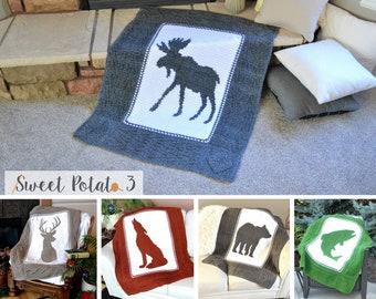 Interchangeable Wildlife Blanket Bundle - Crochet Pattern - Moose, Deer, Wolf, Bear, Fish