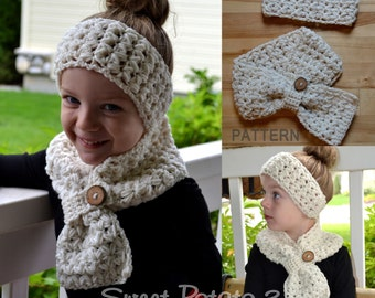 PATTERN Scarf & Headband Set - Cross My Heart - Crochet