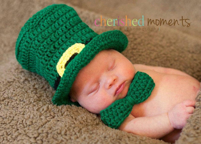 PATTERN Leprechaun Hat   Bow Tie Crochet St Patrick s  a41e4bb4c15