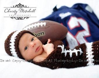 Football Photo Prop / Cocoon & Hat - Crochet Pattern