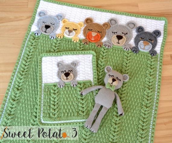 Sleep Tight Teddy Bear Set Baby Blanket Lovey Stuffed Animal