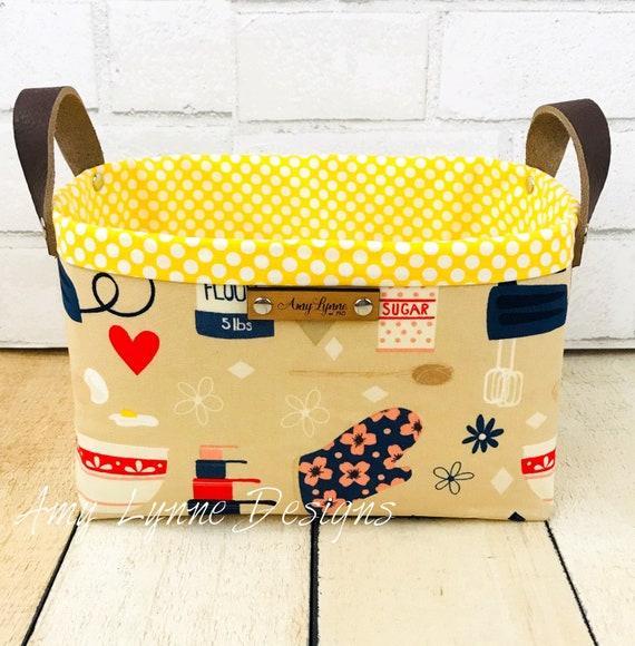 Retro Kitchen Fabric Catch-All Basket, Mail Basket, Candy Basket, Napkin Holder, Pantry Basket, Pretty Basket, Fabric Basket