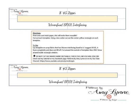 "Template for 8"" Zippers, #3 Zips and #5 Zips PDF, Digital File PDF, Downloadable Pattern To Sew"