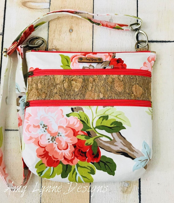 Triple Zip Crossbody Bag, Multi-Zip Bag, Multiple Zipper Bag, Floral Crossbody,