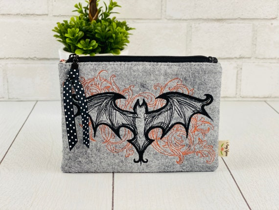 Wool Felt Coin Purse Embroidered Bat and Scroll Design
