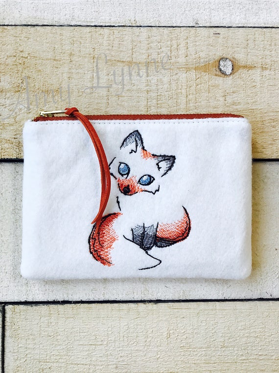 Coin Purse, Change Purse, Embroidered Fox Zippered Wallet, Zippered Wallet, Embroidered Wool Wallet, Wool Wallet