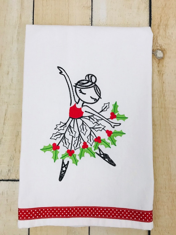 Winter Ballerina Flour Sack Towel, Embroidered Kitchen Towel, Embroidered Flour Sack Towel, Flour Sack Towel