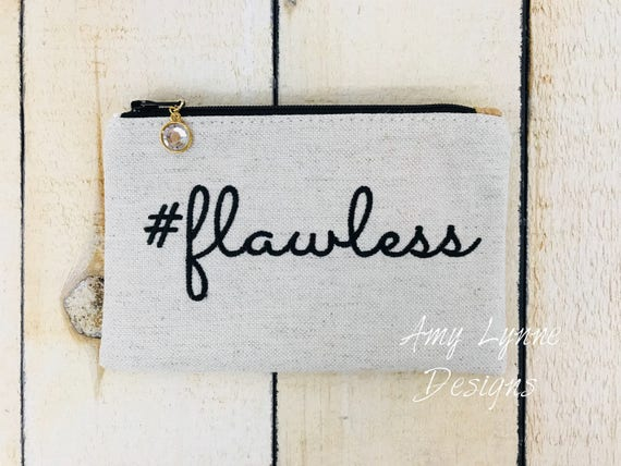 Hastag Flawless Coin Purse, Change Purse, Mini Wallet, Credit Card Pouch, Hashtag Flawless  Embroidery