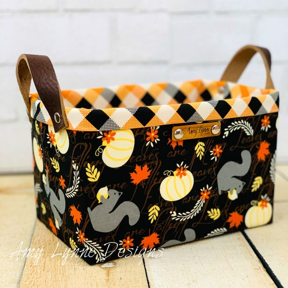 Perfect Little Fall Squirrel Catch-All Basket, Mail Basket, Candy Basket, Napkin Holder, Pantry Basket, Pretty Basket, Fabric Basket