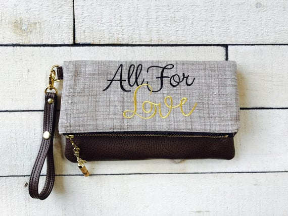 Fold Over Wristlet Clutch with Vegan Leather, Embroidered Home Decor Fabric Wristlet Clutch w/Removable Strap, Bridesmaid Gift,