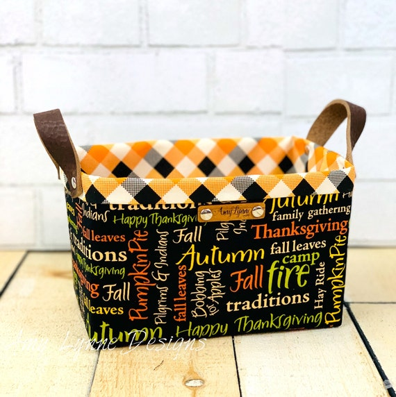 Perfect Little Thanksgiving Catch-All Basket, Mail Basket, Fall Basket, Napkin Holder, Pantry Basket, Pretty Basket, Fabric Basket