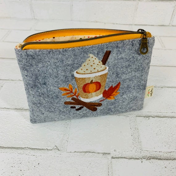 Fall Pouch, Wool Felt Coin Purse Embroidered with Fall Design, Change Purse Embroidered with Pumpkin Latte, Mini Wallet, Credit Card Pouch,