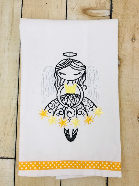 Winter Angel Ballerina Flour Sack Towel, Embroidered Kitchen Towel, Embroidered Flour Sack Towel, Flour Sack Towel