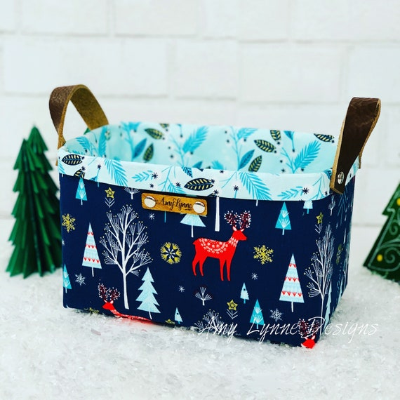 Perfect Catch-All Winter Themed Basket, Mail Basket, Candy Basket, Napkin Holder, Basket For Coffee Pods, Winter Basket