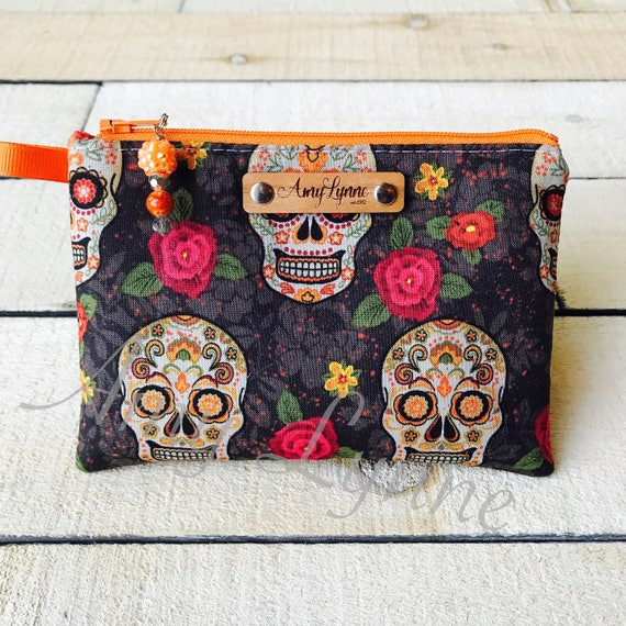 Coin Purse, Change Purse, Mini Wallet, Credit Card Pouch, Day of the Dead Skull Fabric