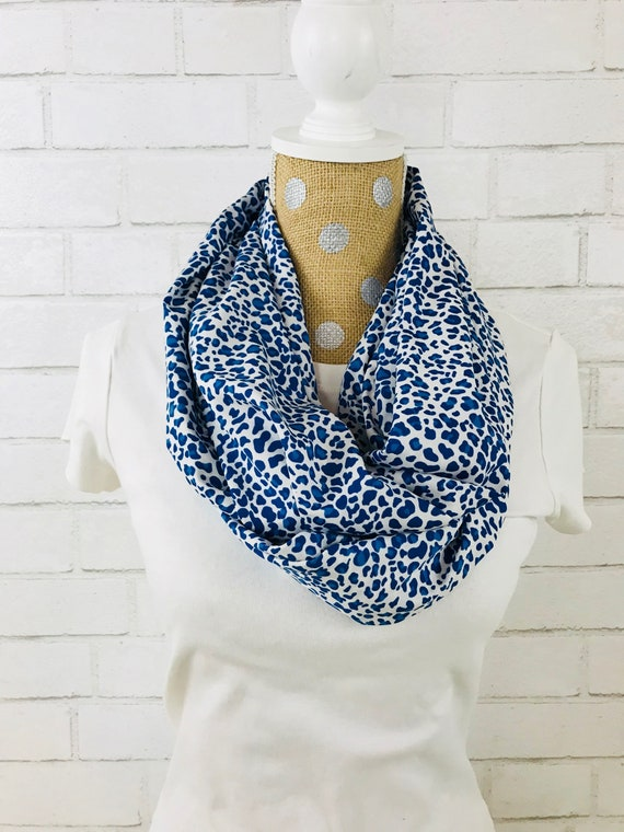 Blue and White Animal-Look Print Midweight Chiffon Infinity Scarf, Perfect Fall Scarf