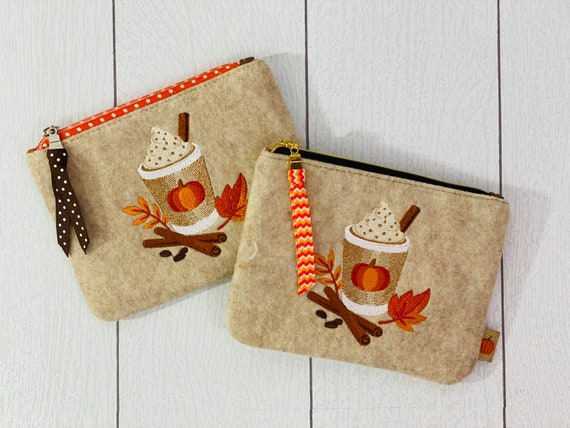 Fall Pouch, Wool Felt Coin Purse Embroidered with Fall Design, Change Purse Embroidered with Pumpkin Latte, Mini Wallet, Credit Card Pouch