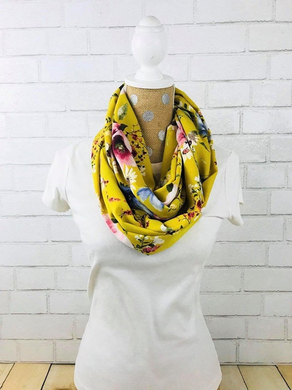 Yellow Floral Print Midweight Crepe Infinity Scarf, Fall Scarf READY TO SHIP