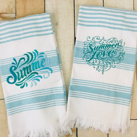 Summer Terry Cloth Aqua and White Striped Kitchen Towel, Embroidered Kitchen Towel, Embroidered Summer Love Kitchen Towel, Powder Room Towel