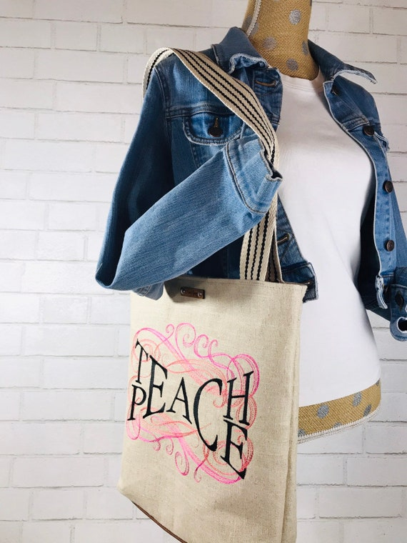 "Embroidered Tote Bag ""Teach Peace"" Home Decor Fabric"