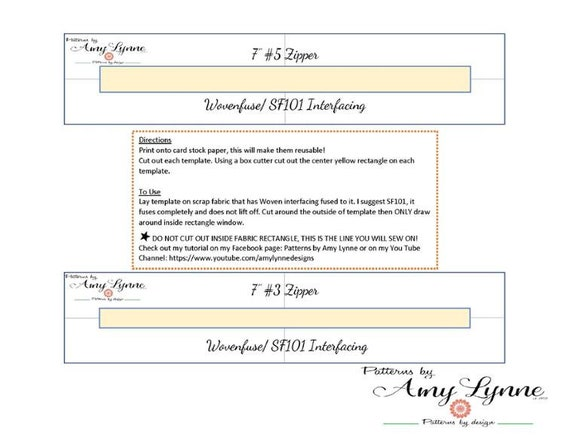 "Template for 7"" Zippers, #3 Zips and #5 Zips PDF, Digital File PDF, Downloadable Pattern To Sew"